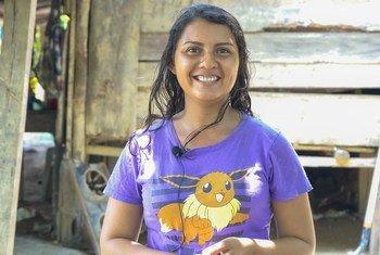 Sivia Flores, líder local de El Sesteadero en la localidad guatemalteca de Izabal, una comunidad afectada por los huracanes.