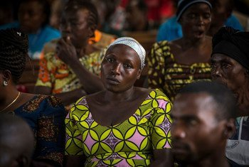 Ebola survivors and other parishioners gather at a church in Beni, in eastern Democratic Republic of the Congo. (August 2019)