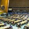 Los delegados guardan la distancia de seguridad durante la inauguración del a 75 sesión de la Asamblea General.