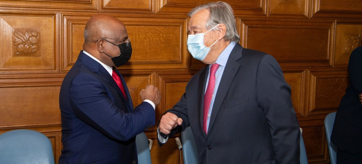 Secretary-General António Guterres (right) meets with Abdulla Shahid, President-elect of the Seventy-sixth Session of the United Nations General Assembly.