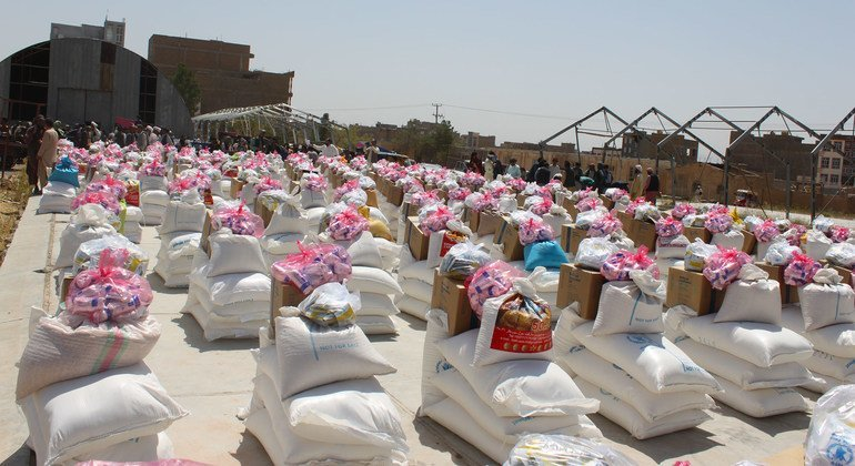 Food supplies are lined up for distribution to people facing hunger and in need of humanitarian assistance in Herat in western Afghanistan.