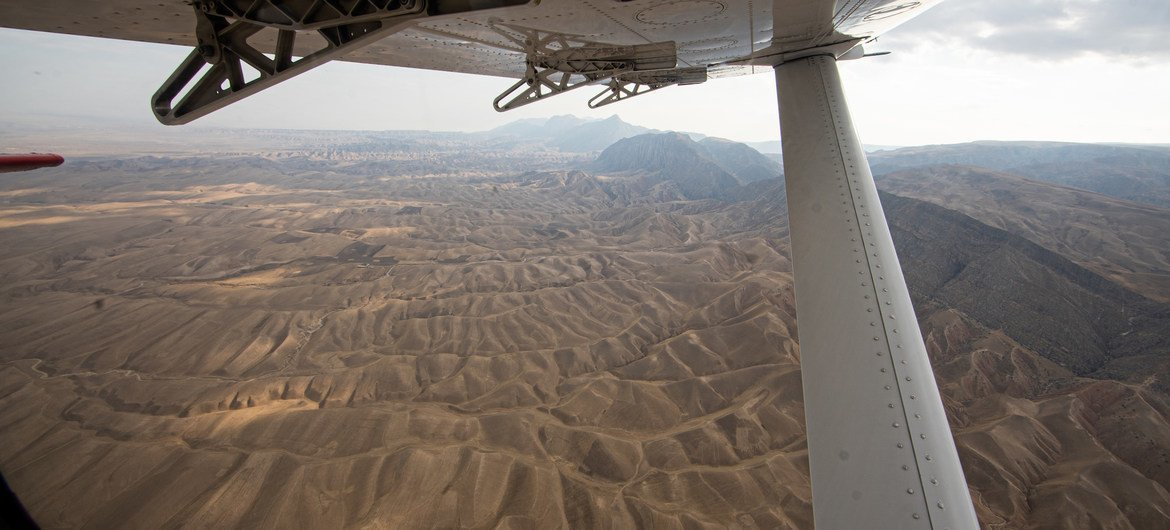 The landscape in southern Afghanistan, as seen from an aircraft, in November 2019.
