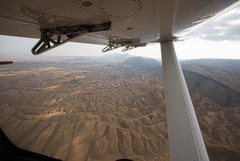 Ландшафт юга Афганистана. Вид с самолета, ноябрь 2019 г.