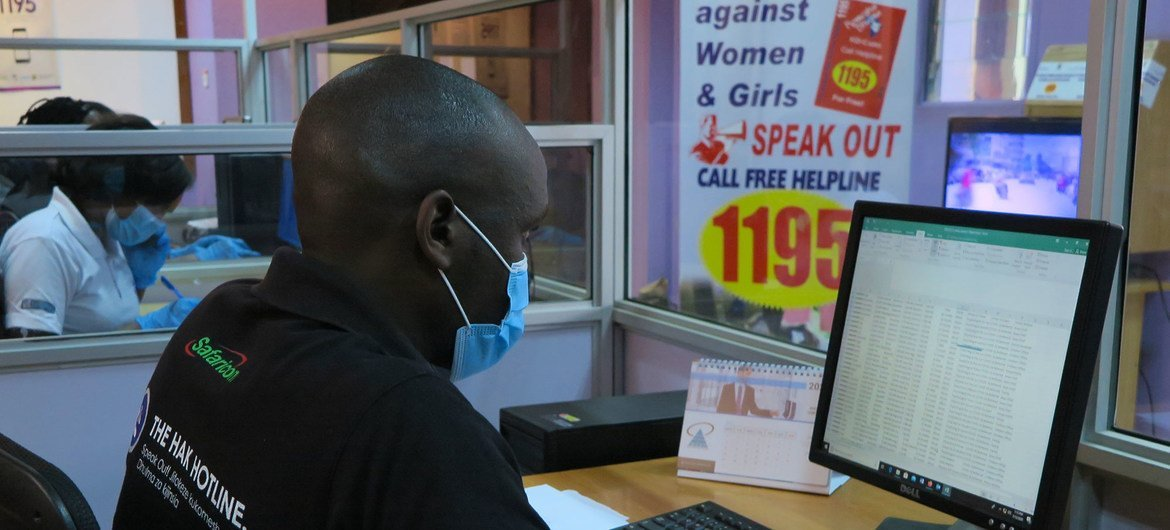 The gender-based violence hotline in Nairobi is staffed 24 hours a day by trained counselors.