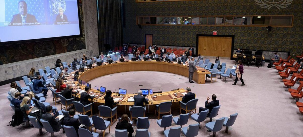 Security Council meets connected  Yemen, 14 October 2021.