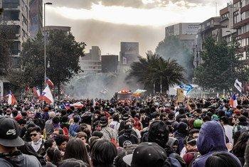 Акции протеста в Чили.