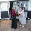 A UNFPA health mobile team assists Syrian refugees in Adana, Turkey.