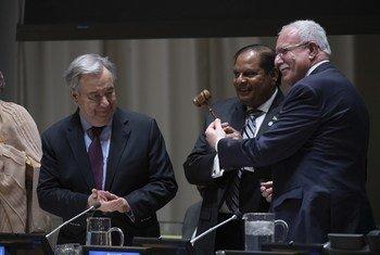 77国集团主席交接仪式2020年1月15日在纽约联合国总部举行。圭亚那接替巴勒斯坦国成为新一任主席国。