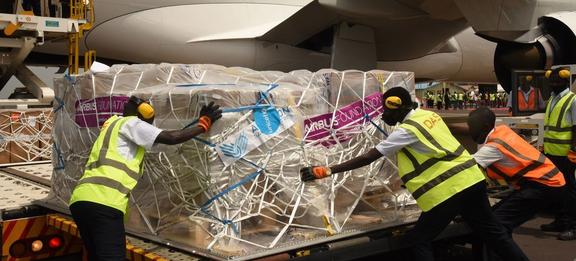 UNICEF delivers essential medical equipment to Uganda in early February.