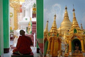 缅甸仰光的佛寺与正在冥想的僧侣。(2013年5月图片)
