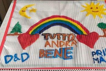 El dibujo de niño italiano expresando su esperanza de que el futuro será mejor.