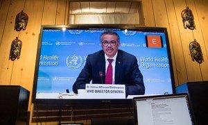 世卫组织总干事谭德塞通过视频连线在日内瓦就2019冠状病毒病大流行进行情况通报。