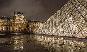 The Louvre Museum in Paris, France, is an historic monument and home to art from around the world, including the Mona Lisa, Leonardo da Vinci's most famous masterpiece.