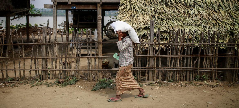 2016年3月,缅甸蒙育瓦的一名妇女领取了由粮农组织提供的农肥。(资料图片)