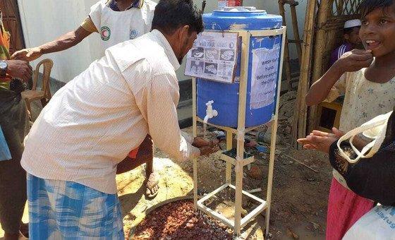 Estação de lavagem de mãos instalada para combater o vírus