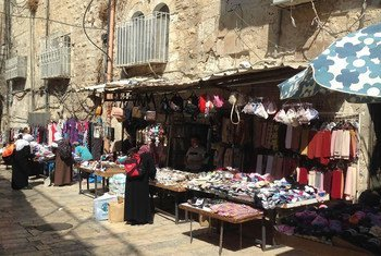 The market in Old City of East Jerusalem.