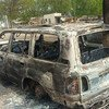 Around the world, humanitarians work in some of the most difficult and unsafe environments, to bring protection and assistance to the most vulnerable. Pictured here is the remains of a car after an attack on UN relief workers. (file photo)