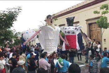 墨西哥瓦哈卡当地的土著文化节。