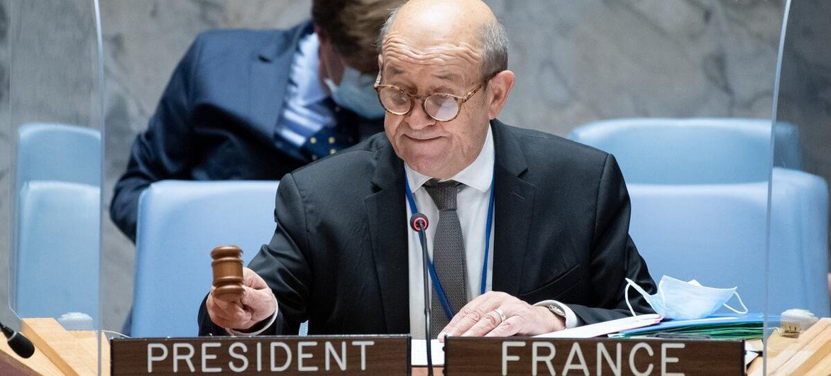 Le chef de la diplomatie française, dont le pays préside le Conseil de sécurité en juillet, lors d'une réunion du Conseil sur la Libye.