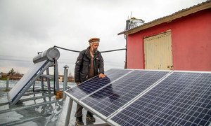 Solar panels on the roof of a health facility in Afghanistan.