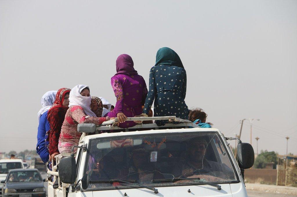 Syrie, gouvernorat d'Al-Hasakah, le 11 octobre 2019 : des femmes déplacées par la reprise des combats, voyagent assises au-dessus d'une camionnette