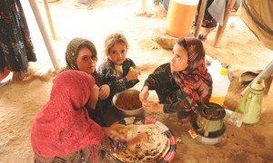 فتيات نازحات في مخيم المزرق في اليمن يتقاسمن وجبة بسيطة من الطعام مكونة من الخبز والحبوب الذي صنعته أمهاتهن (15 تشرين أول/أكتوبر 2019)
