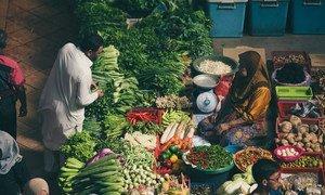 A food market in Kelantan, Malaysia.