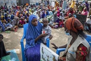 Children are assessed for malnutrition at an IDP camp in Borno State, Nigeria.