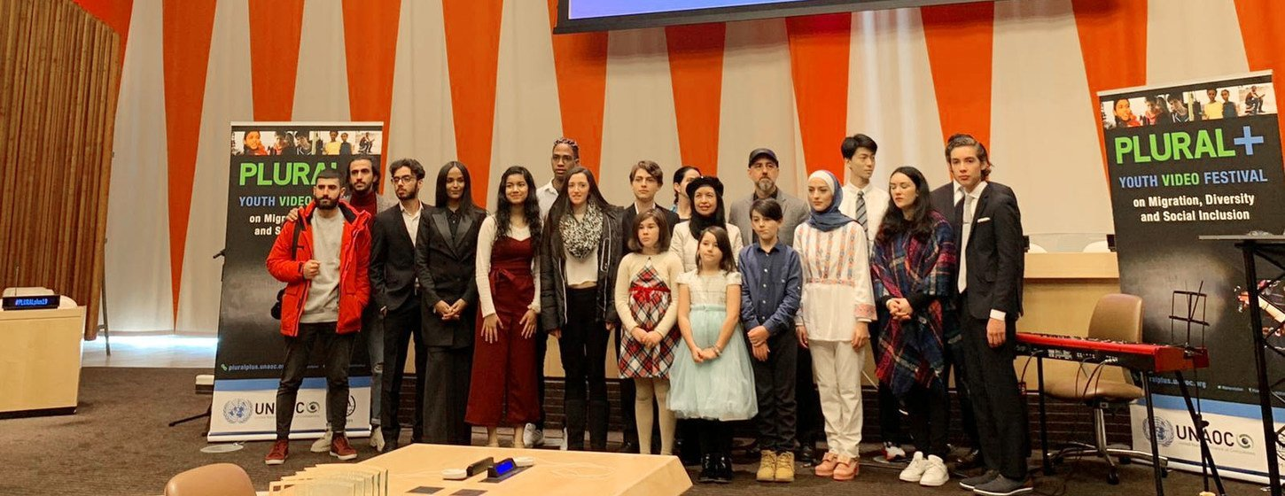 PLURAL+ Youth Video Festival winners at UN Headquarters who were selected for their coverage of migration, diversity and social inclusion. The winning-videos were chosen among 1200+ submissions from almost 70 countries.