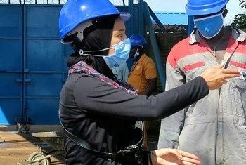 مي عبدالوهاب، مهندسة مصريةتعمل متطوعة مع بعثة الأمم المتحدة في جنوب السودان.