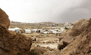 Tents and makeshift shelters at an IDP camp in Yemen. Years of conflict has left millions at crisis levels of hunger, with some facing starvation due to COVID.