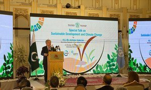 Secretary-General António Guterres delivers an address at a 'Special Talk on Sustainable Development and Climate Change', in Islamabad, Pakistan.