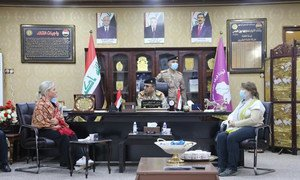 Jeanine Hennis-Plasschaert (left), UN Special Representative for Iraq and Deputy Representative, Irena Vojáčková-Sollorano, meet officials from the Sinjar security forces in January 2021.