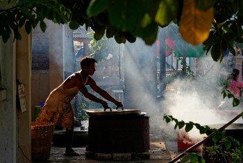 Urban life. Region of Mawlamyaingyune. Report from Myanmar, May 2013.