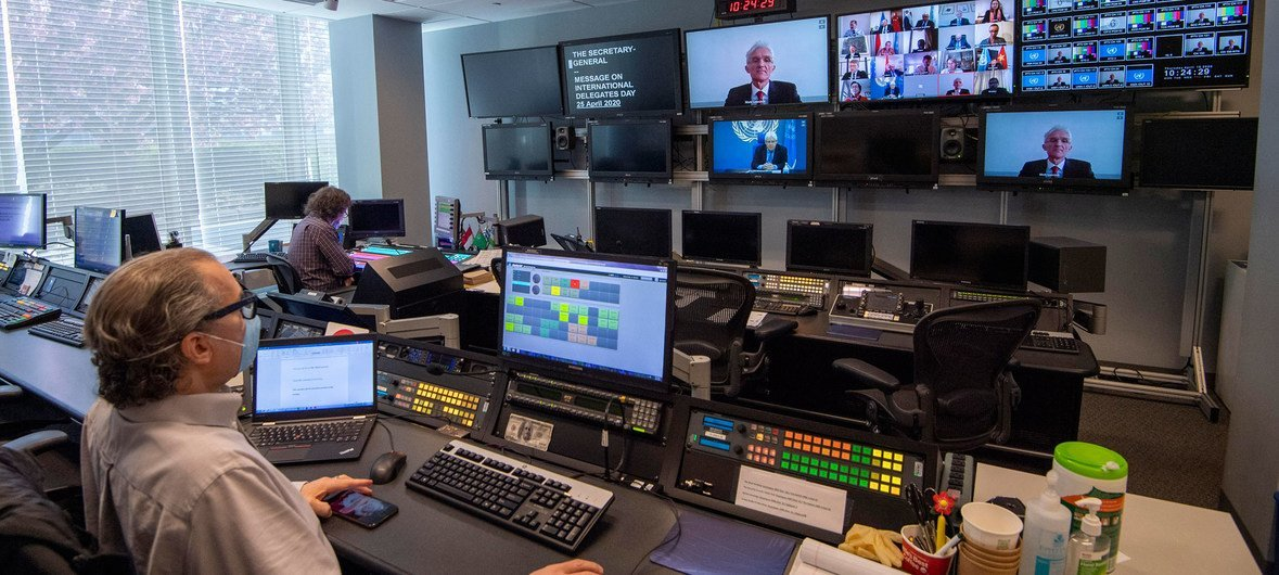 A remote meeting of the United Nations Security Council is facilitated by UN staff at Headquarter studios.