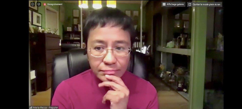 瑞莎于今年5月4日参加教科文组织新闻自由线上讨论会的视频截图。