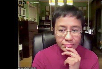 Jornalista Maria Ressa durante diálogo sobre liberdade de imprensa, na internet, organizado pela Unesco em maio