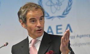 IAEA Director General Rafael Grossi at a press conference. (file)