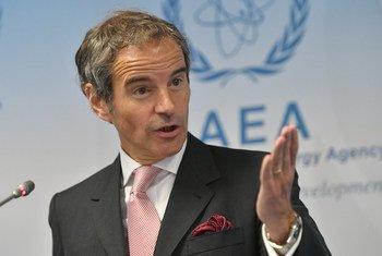 Rafael Mariano Gross, Mkurugenzi Mkuu wa IAEA akizungumza na waandishi wa habari mnamo Juni 15, 2020.