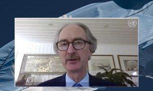 غير بيدرسون أثناء إحاطته لمجلس الأمن حول الوضع في سوريا ، من خلال دائرة تلفزيونية مغلقة.