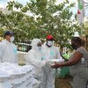 A woman in the Dominican Republic receives food from a Government soup kitchen set up to help fight hunger triggered by the COVID-19 pandemic.