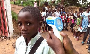During the 2018 Ebola outbreak, primary school students had to wash their hands and have their temperature screened in Mbandaka, Equateur Province, in the Democratic Republic of the Congo (file photo).