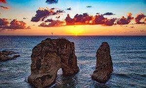 صخرة الروشة في العاصمة اللبنانية بيروت.