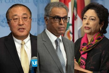 बाएँ से दाएँ - संयुक्त राष्ट्र में चीन के राजदूत झांग जून, भारत के राजदूत सैयद अकबरुद्दीन और पाकिस्तान की राजदूत मलीहा लोधी, तीनों राजदूतों ने अपने-अपने देशों का रुख़ रखा.