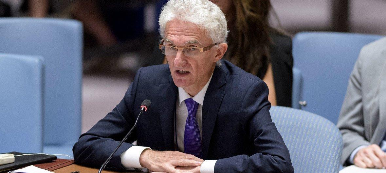 مارك لوكوك، وكيل الأمين العام للشؤون الإنسانية ومنسق الإغاثة في حالات الطوارئ، يطلع اجتماع مجلس الأمن على الوضع في اليمن. (16 سبتمبر 2019)
