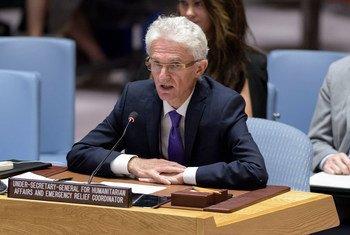 Mark Lowcock mkuu wa OCHA akihutubia Baraza la Usalama kuhusu hali nchini Yemen.