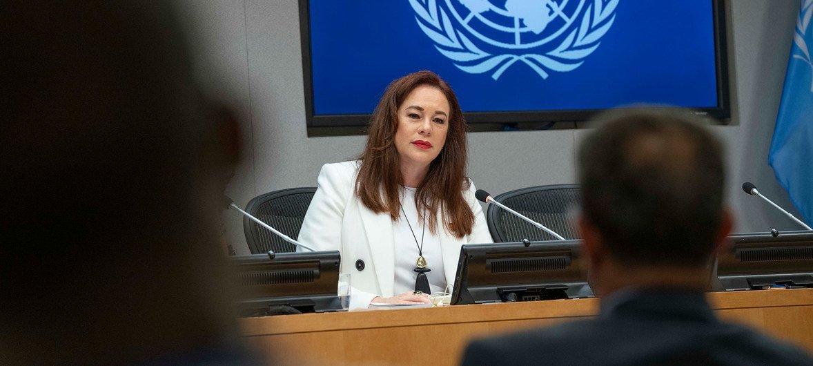 María Fernanda Espinosa, Rais wa mkutano wa 74 wa Baraza Kuu la UN katika mkutano wake wa mwisho na wanahabari New York, Marekani 16 Septemba 2019