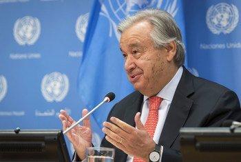 Le Secrétaire général de l'ONU, António Guterres, lors d'une conférence de presse.