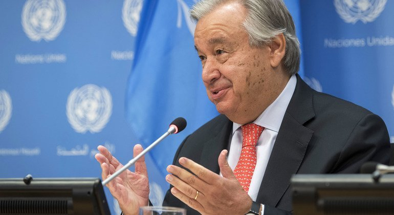 Secretary-General António Guterres briefs reporters following the start of the Seventy-fifth Session of the United Nations General Assembly.
