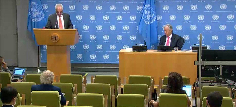 Генеральный секретарь ООН Антониу Гутерриш выступил перед журналистами в связи с началом75-й сессии Генеральной Ассамблеи. .